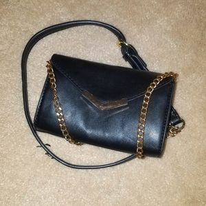 Small black vegan leather purse